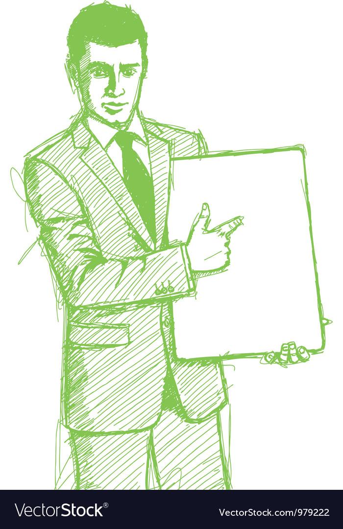 Businessman write board vector   Price: 1 Credit (USD $1)
