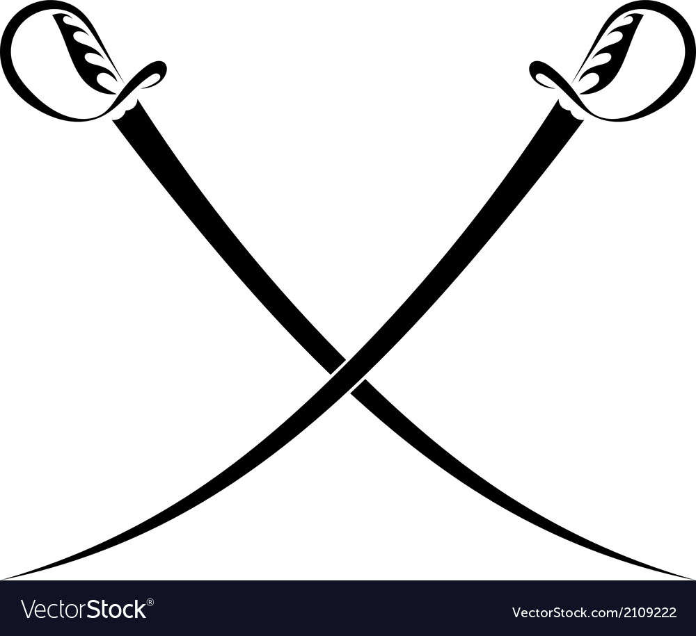 Crossed swords on a white background vector   Price: 1 Credit (USD $1)