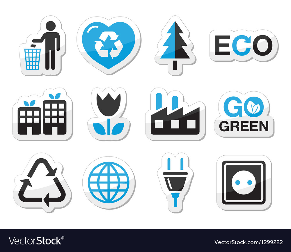 Ecology green recycling icons set vector | Price: 1 Credit (USD $1)