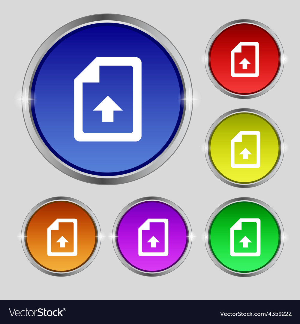 Export upload file icon sign round symbol on vector | Price: 1 Credit (USD $1)