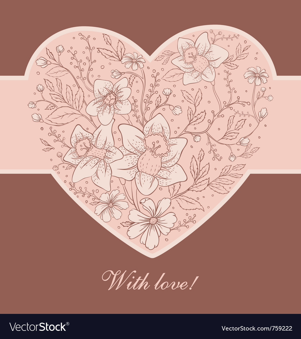 Flowers heart pic vector | Price: 1 Credit (USD $1)