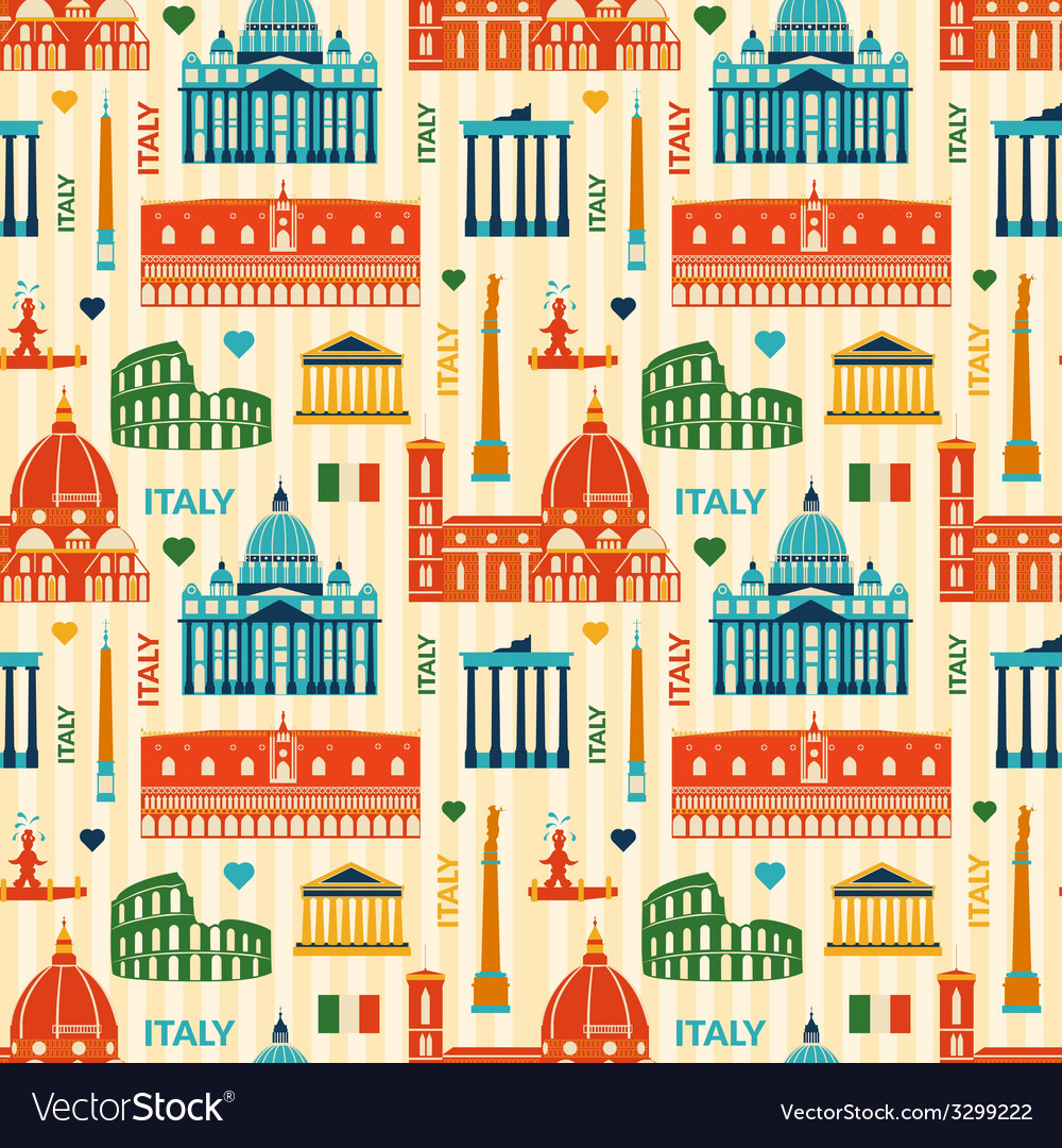 Landmarks of italy seamless pattern vector | Price: 1 Credit (USD $1)