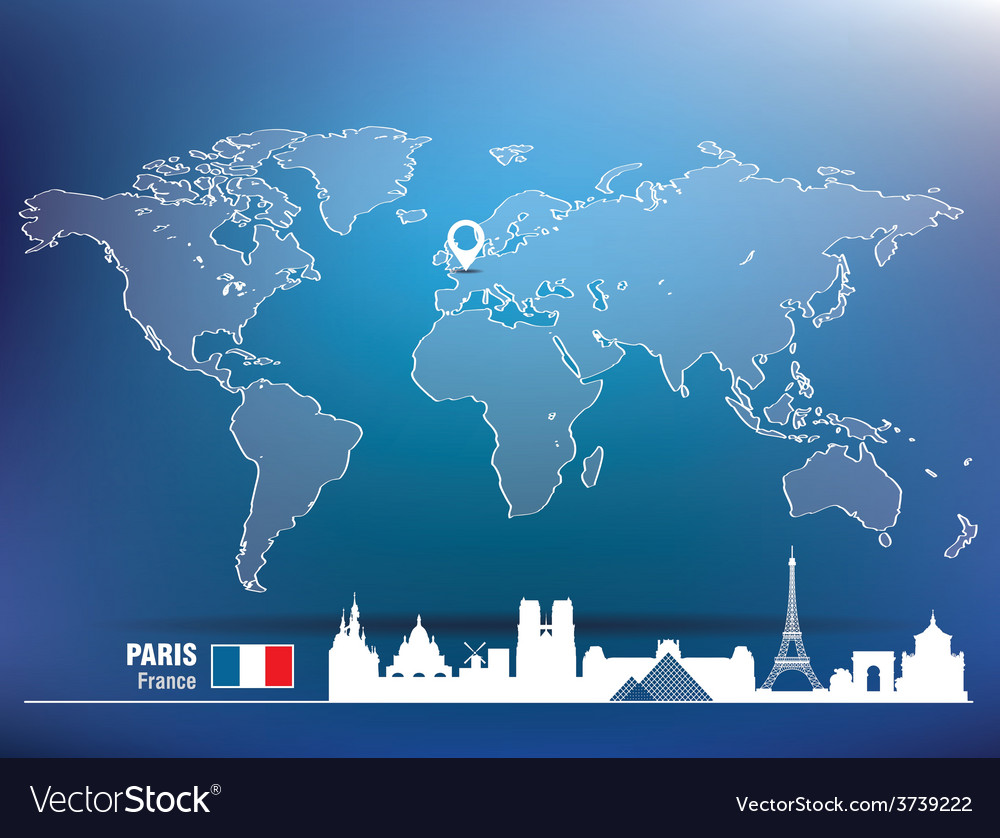 Map pin with paris skyline vector | Price: 1 Credit (USD $1)