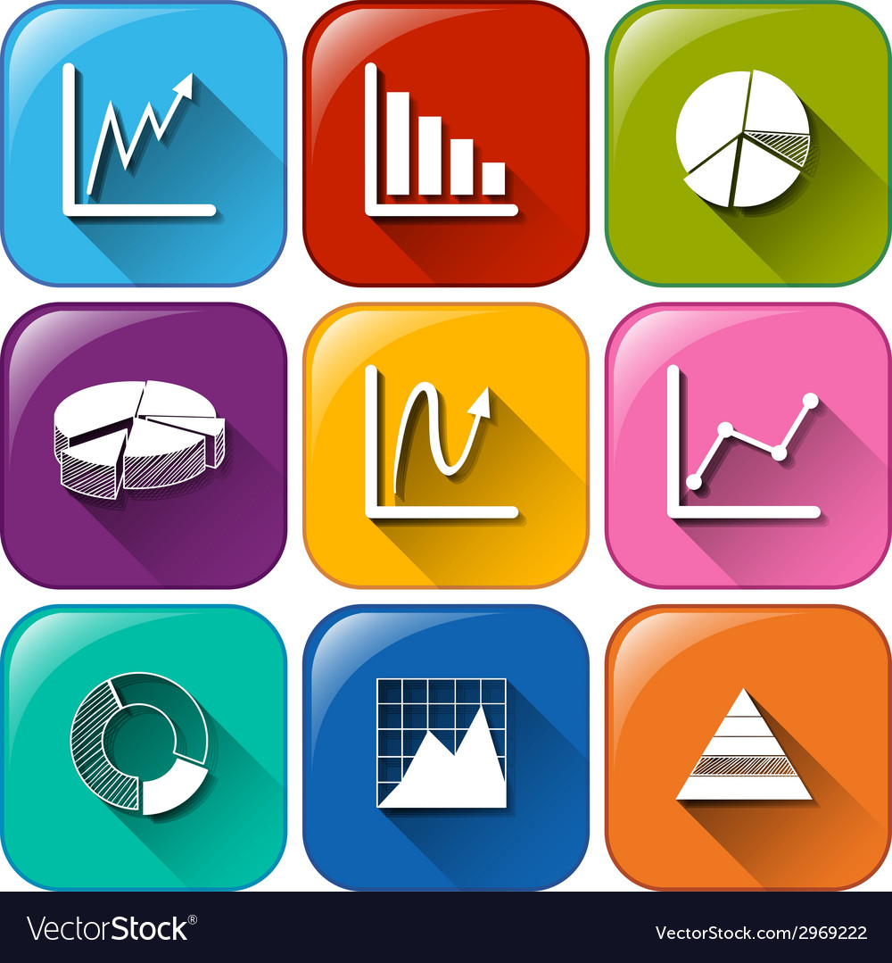 Rounded buttons with the different graphs vector   Price: 1 Credit (USD $1)