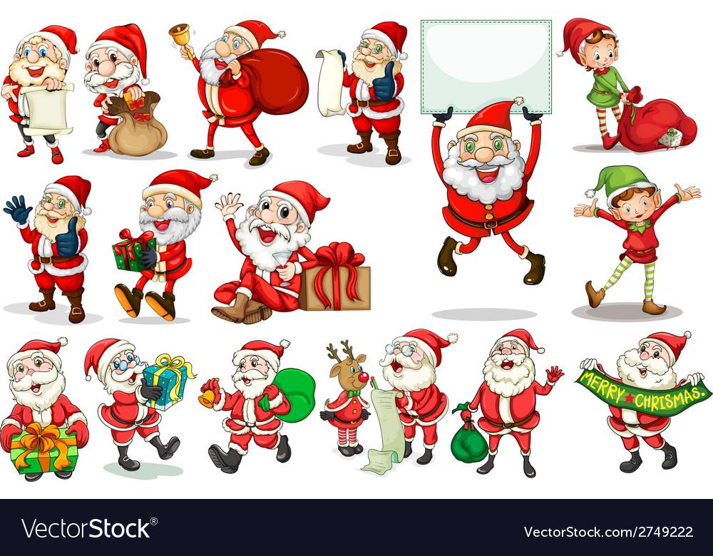 Santa actions vector | Price: 1 Credit (USD $1)