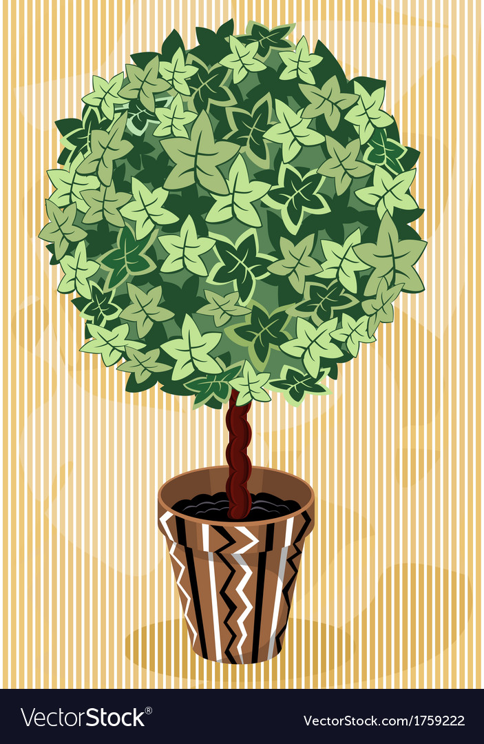 Topiary tree in decorative flowerpot vector | Price: 1 Credit (USD $1)