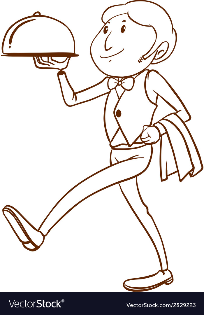 A simple drawing of a waiter vector | Price: 1 Credit (USD $1)