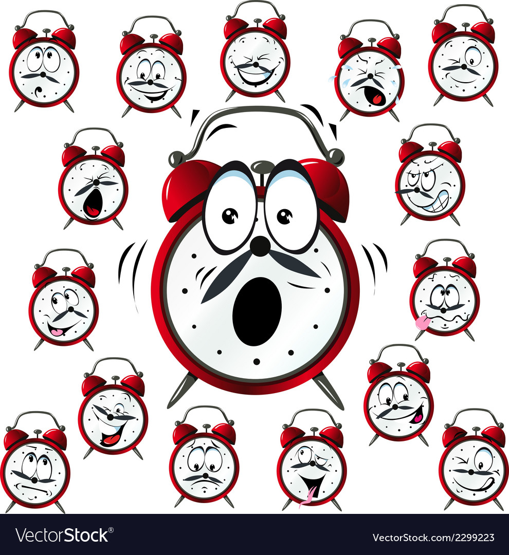 Alarm clock cartoon with many facial expressions vector | Price: 1 Credit (USD $1)