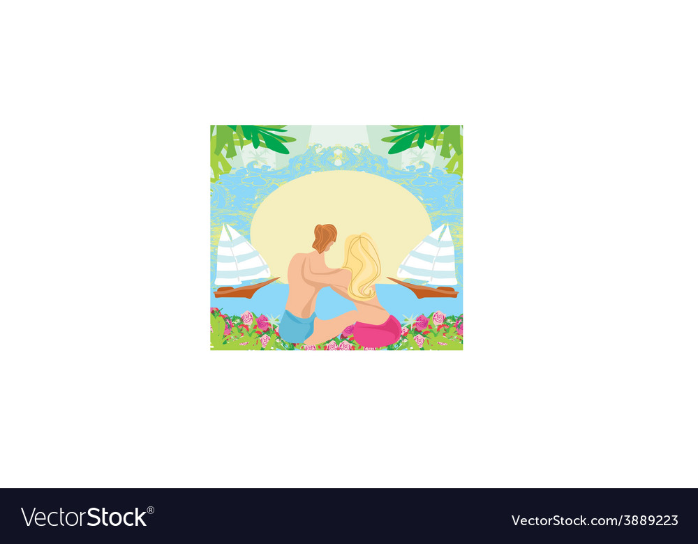 Couple on tropical vacation abstract frame vector | Price: 1 Credit (USD $1)