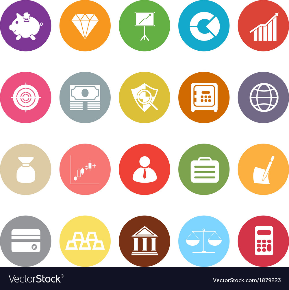 Finance flat icons on white background vector | Price: 1 Credit (USD $1)