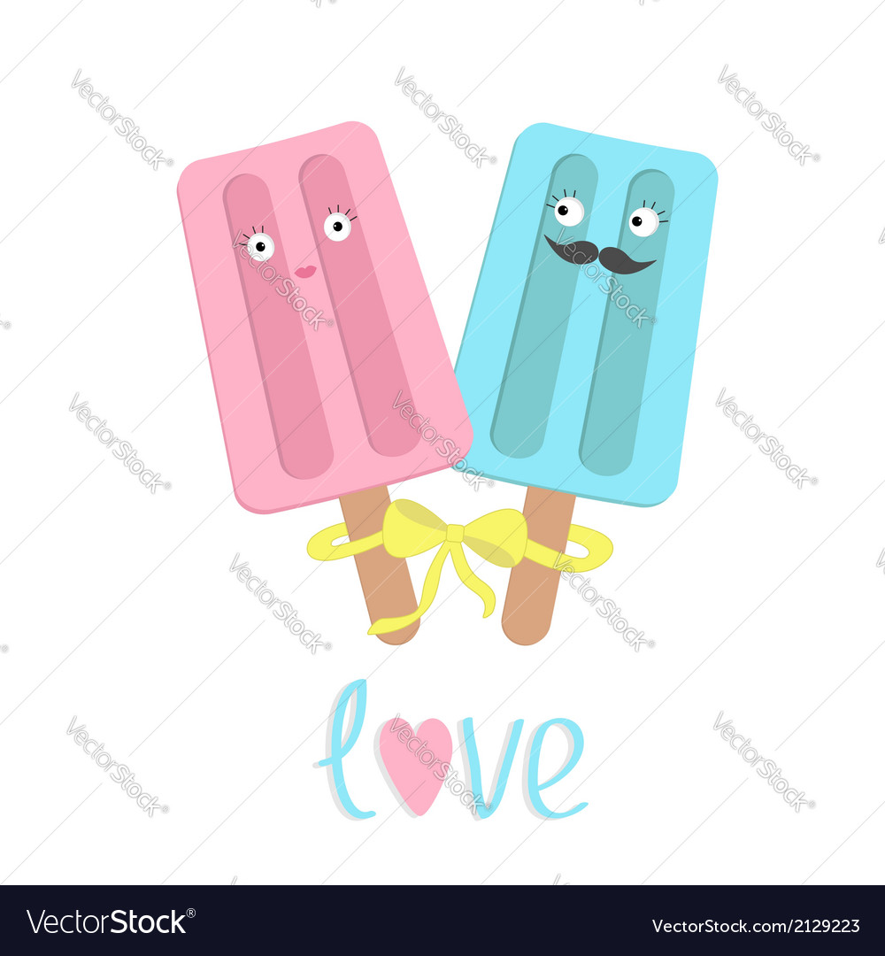 Funny ice cream couple with lips mustaches eyes vector | Price: 1 Credit (USD $1)