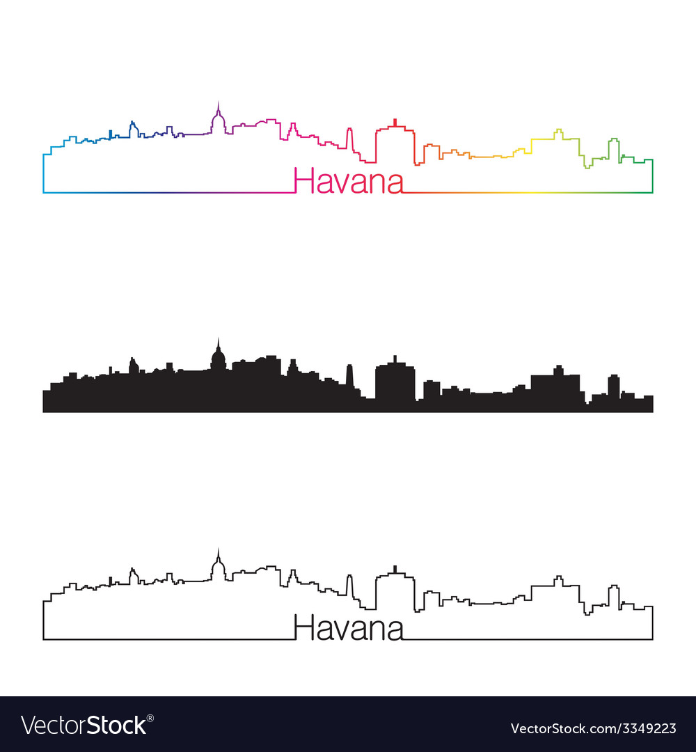 Havana skyline linear style with rainbow vector | Price: 1 Credit (USD $1)