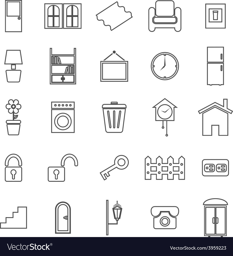 House related line icons on white background vector | Price: 1 Credit (USD $1)