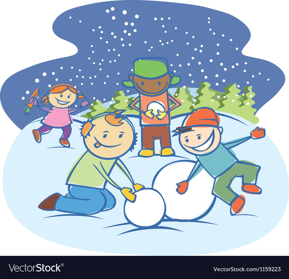 Kids making a snow man vector | Price: 1 Credit (USD $1)
