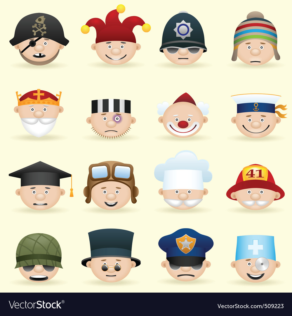 People occupations icon set vector | Price: 3 Credit (USD $3)