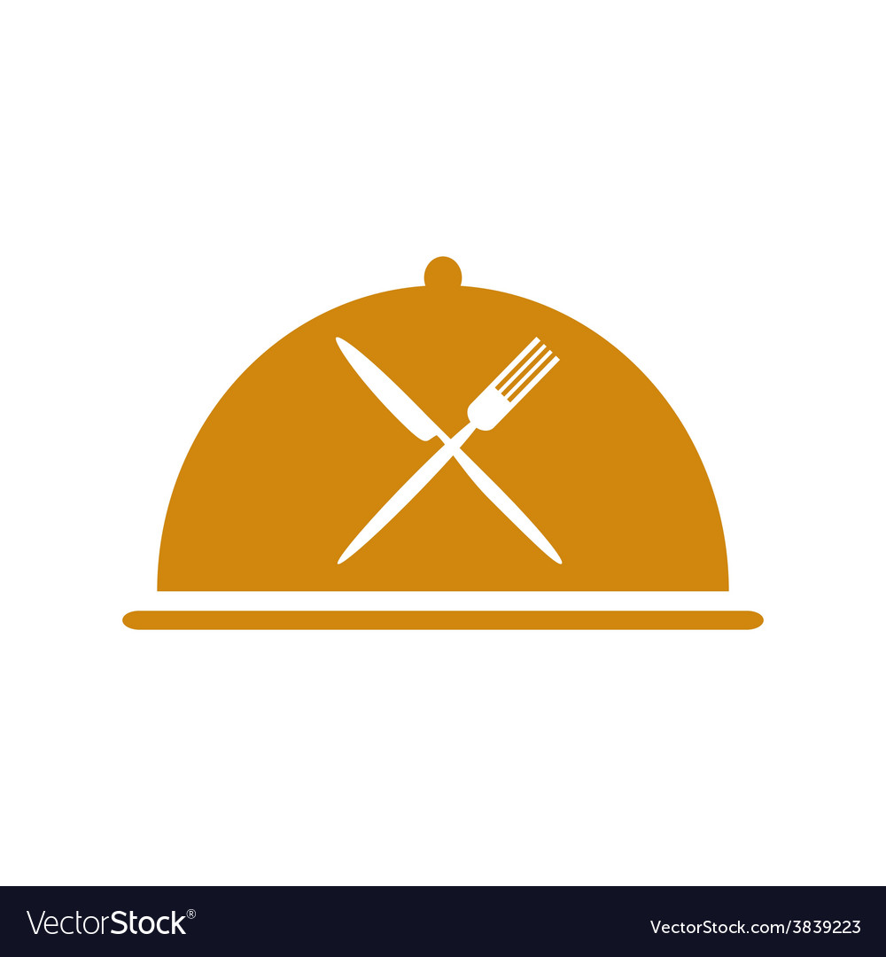 Restaurant icon with cloche and flatware vector | Price: 1 Credit (USD $1)