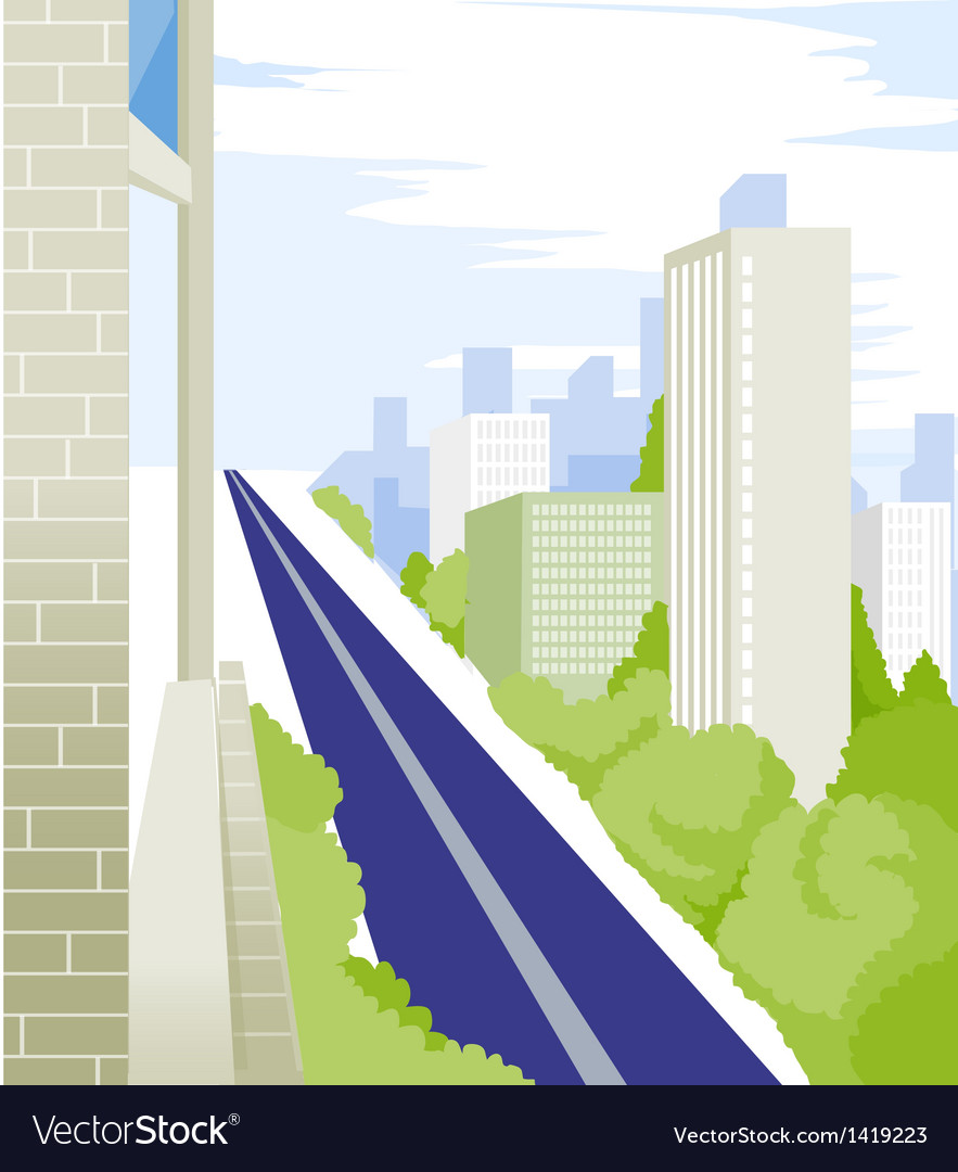 Straight road and buildings vector | Price: 1 Credit (USD $1)