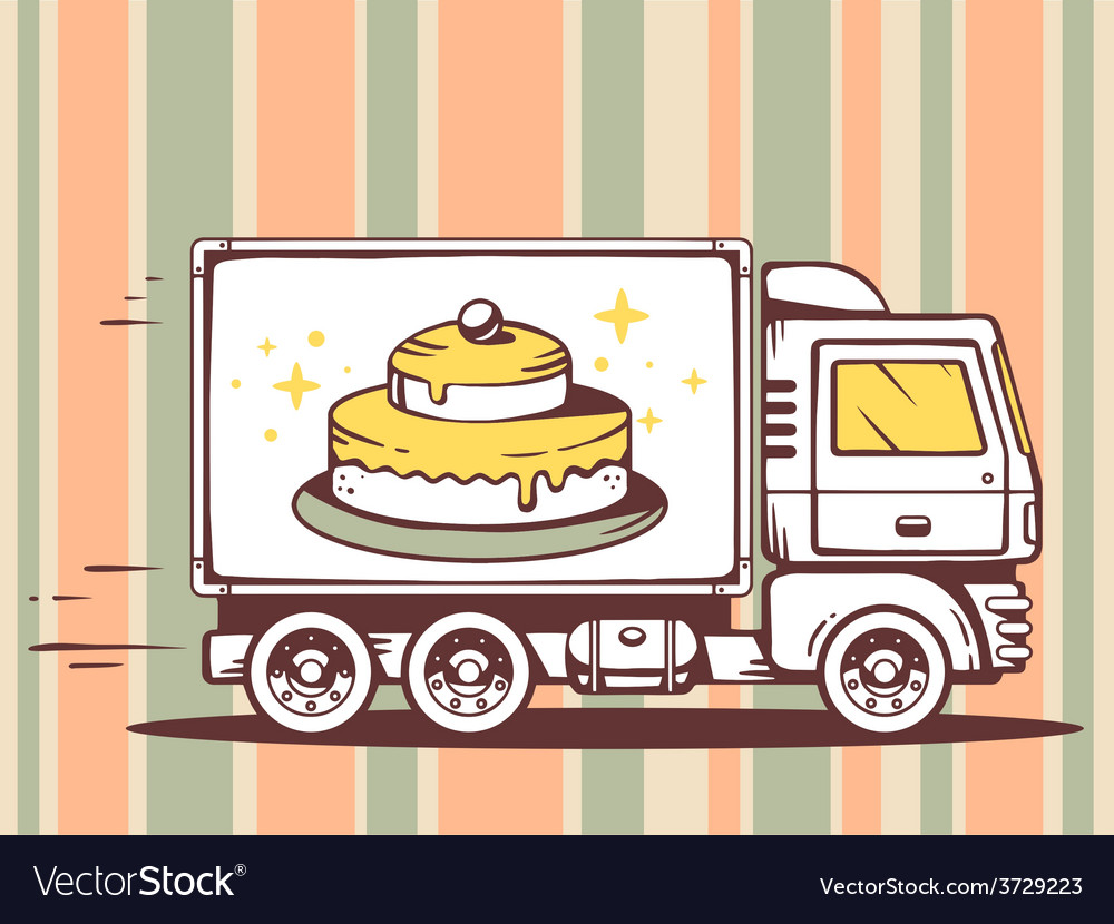 Truck free and fast delivering cake to cu vector | Price: 1 Credit (USD $1)