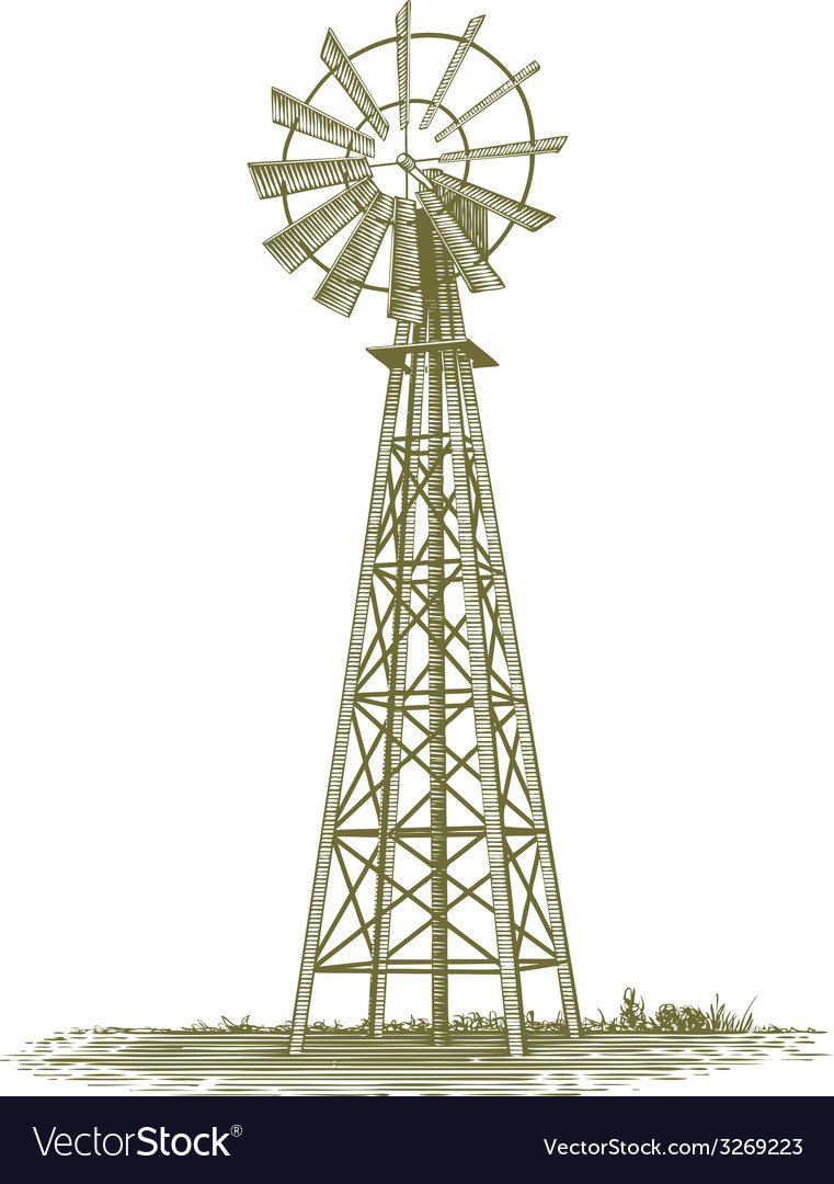 Woodcut windmill vector | Price: 1 Credit (USD $1)