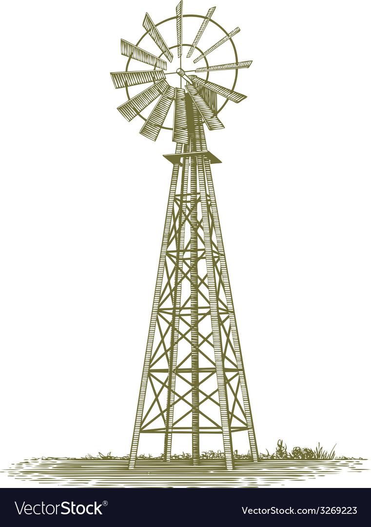 Woodcut windmill vector | Price: 1 Credit (USD $1)