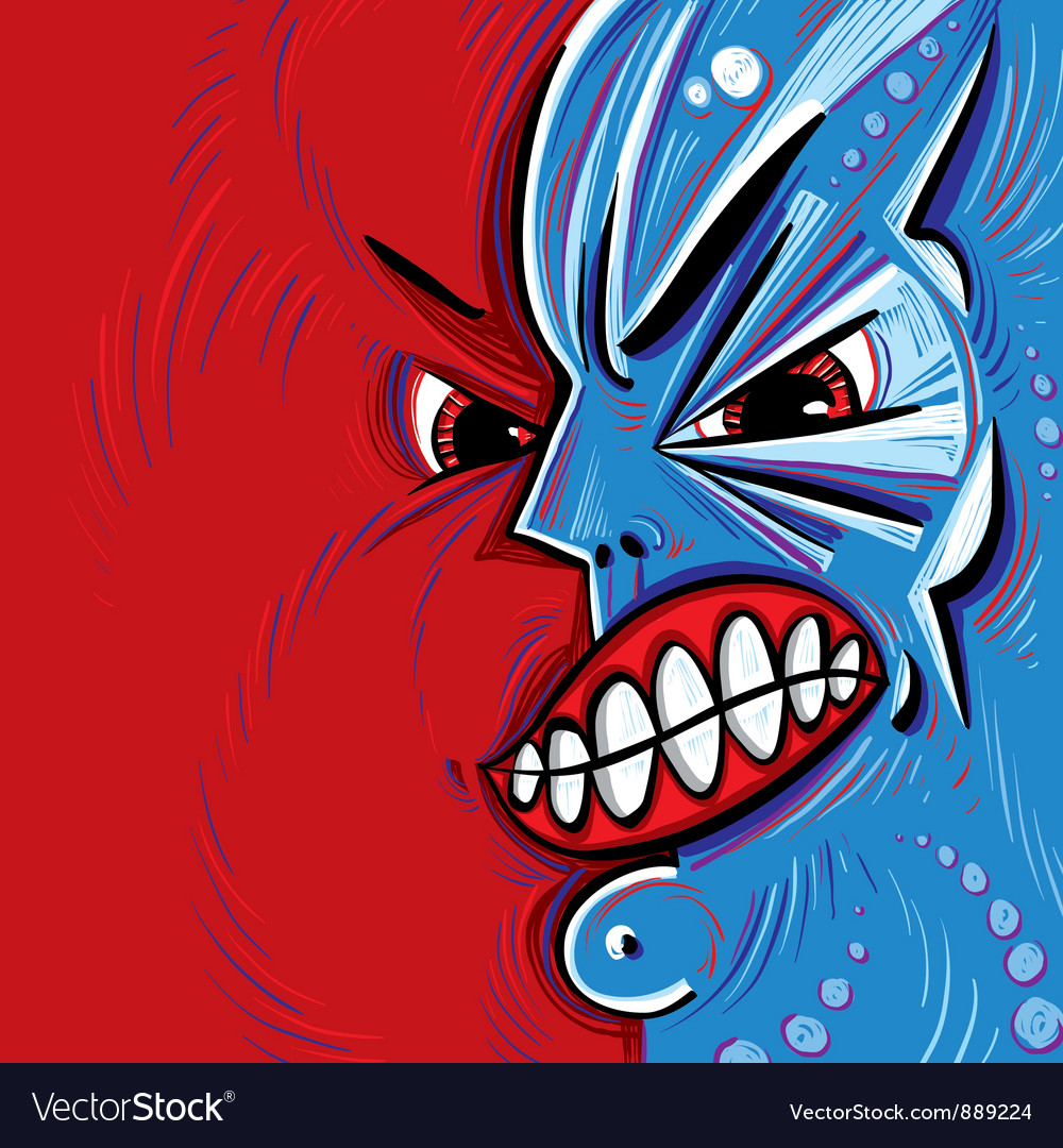 Angry face cartoon vector | Price: 1 Credit (USD $1)