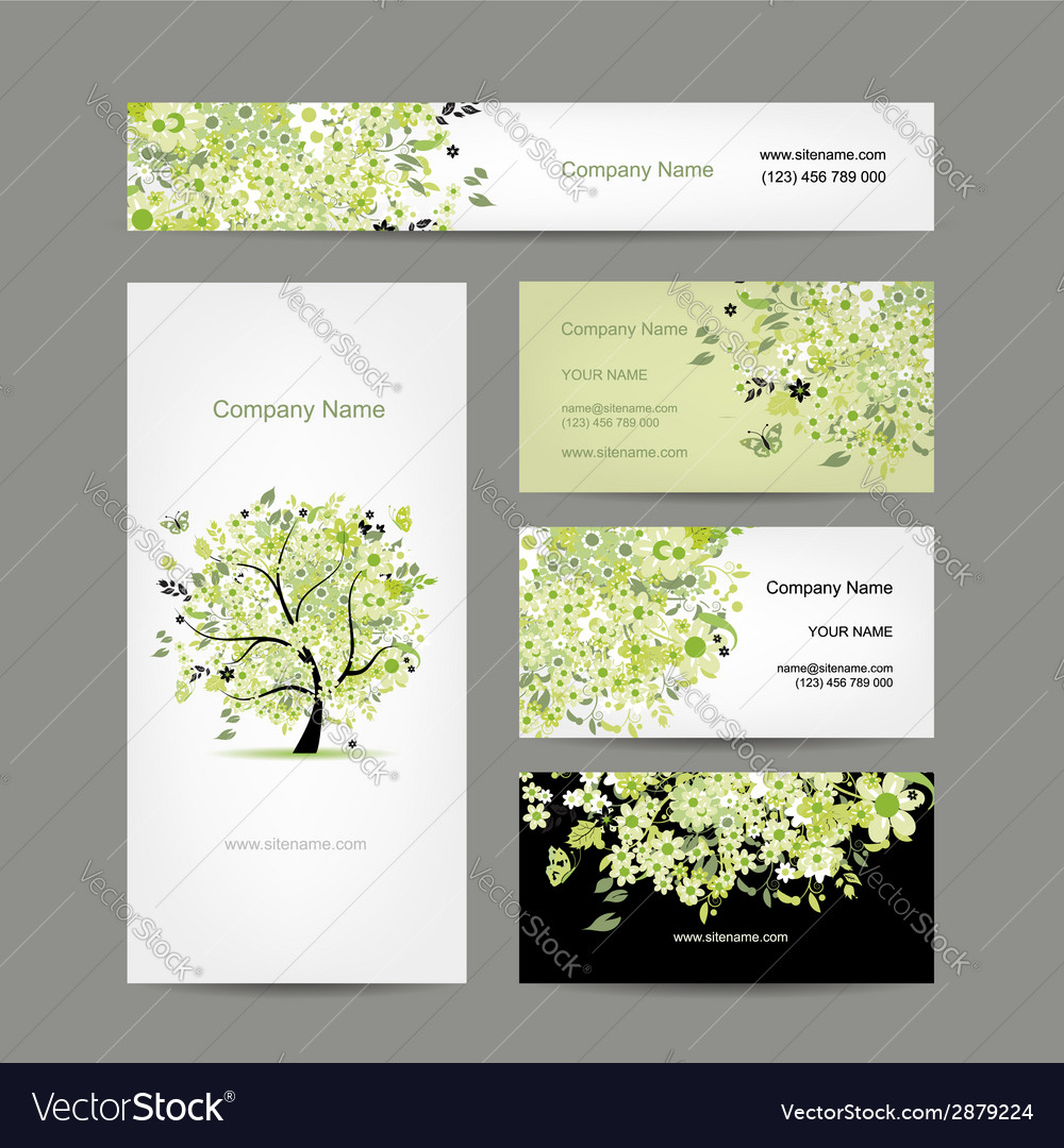 Business cards design spring tree floral vector | Price: 1 Credit (USD $1)