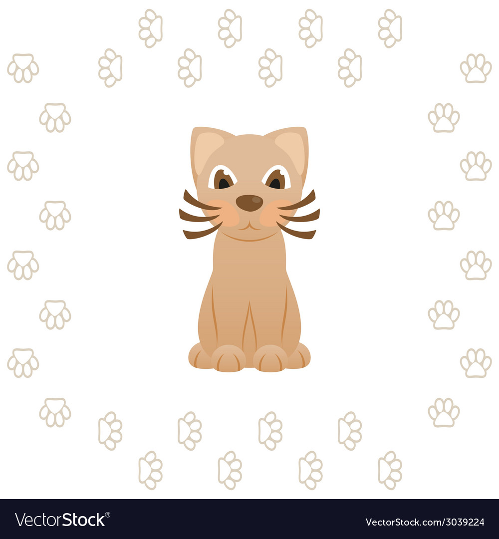 Cartoon kitty cat in frame of animal footprints vector | Price: 1 Credit (USD $1)