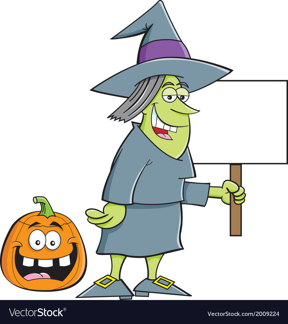 Cartoon witch holding a sign vector | Price: 1 Credit (USD $1)