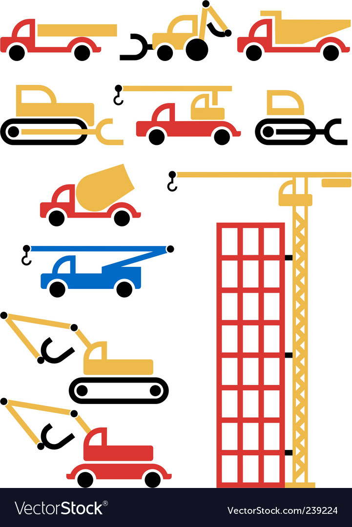 Construction machines and equipment vector | Price: 1 Credit (USD $1)