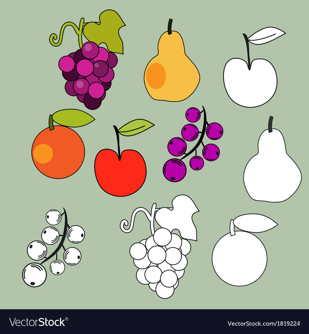 Fruits set vector | Price: 1 Credit (USD $1)
