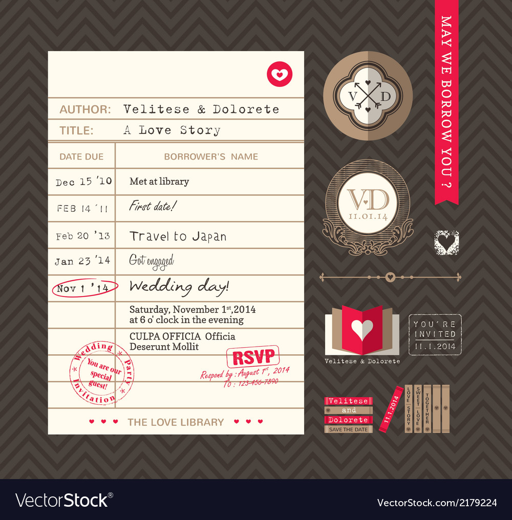 Library card idea wedding invitation design vector | Price: 1 Credit (USD $1)