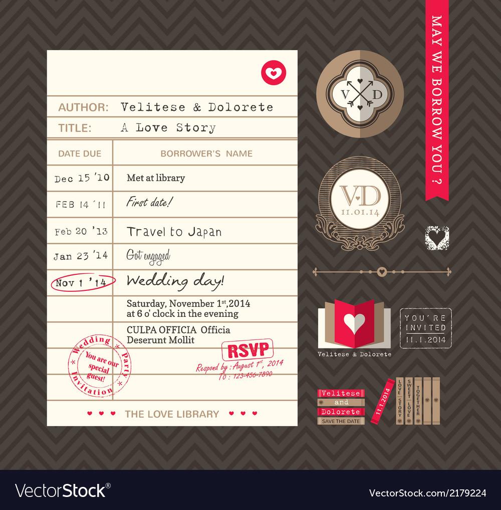 Library card idea wedding invitation design vector | Price: 1 Credit (USD $1)