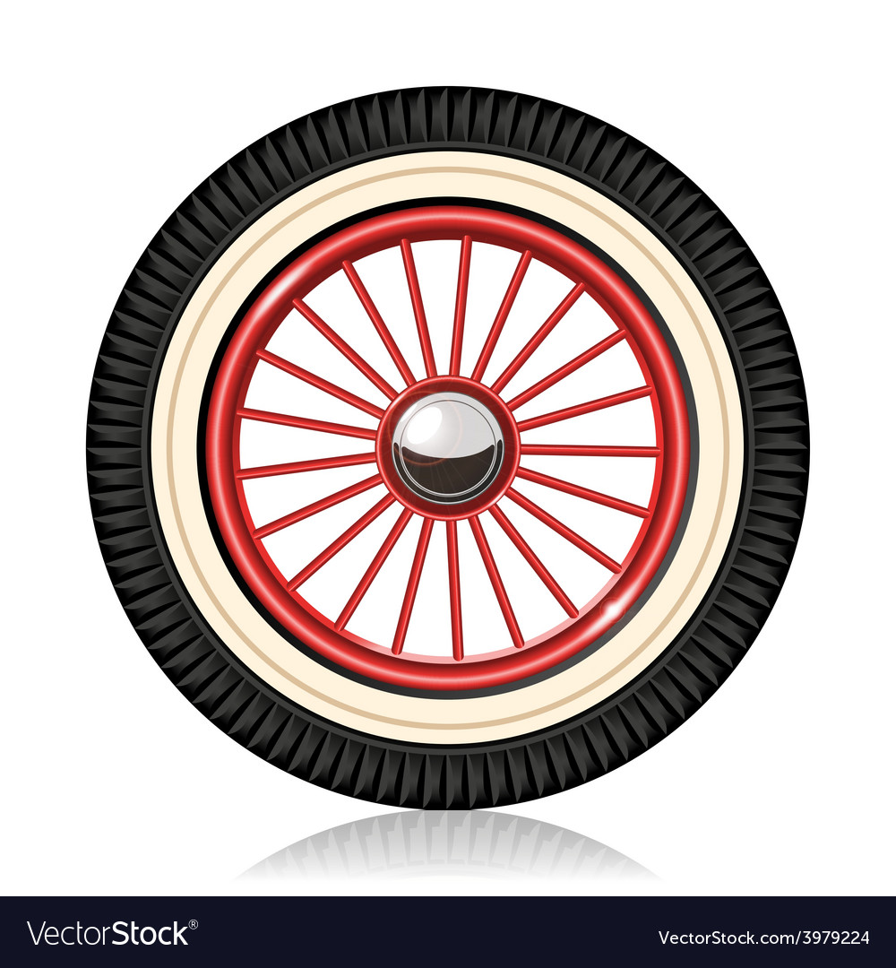 Retro car wheel vector | Price: 1 Credit (USD $1)