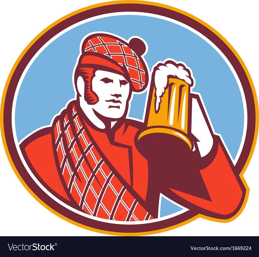 Scotsman beer drinker mug retro vector | Price: 1 Credit (USD $1)