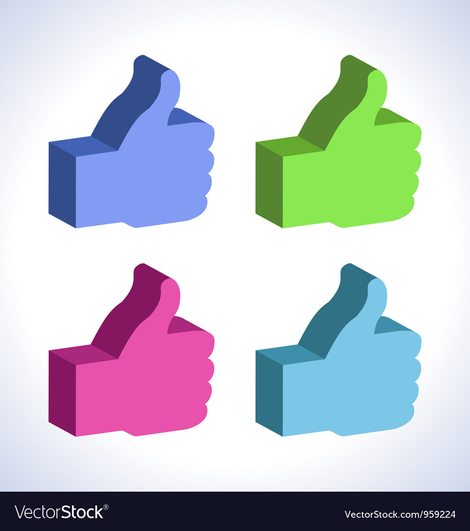 Set of 3d colorful thumb up vector | Price: 1 Credit (USD $1)