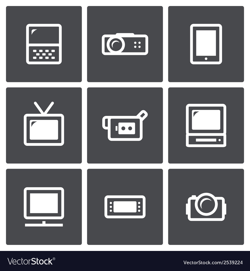 Tv and video equipment icon set vector | Price: 1 Credit (USD $1)