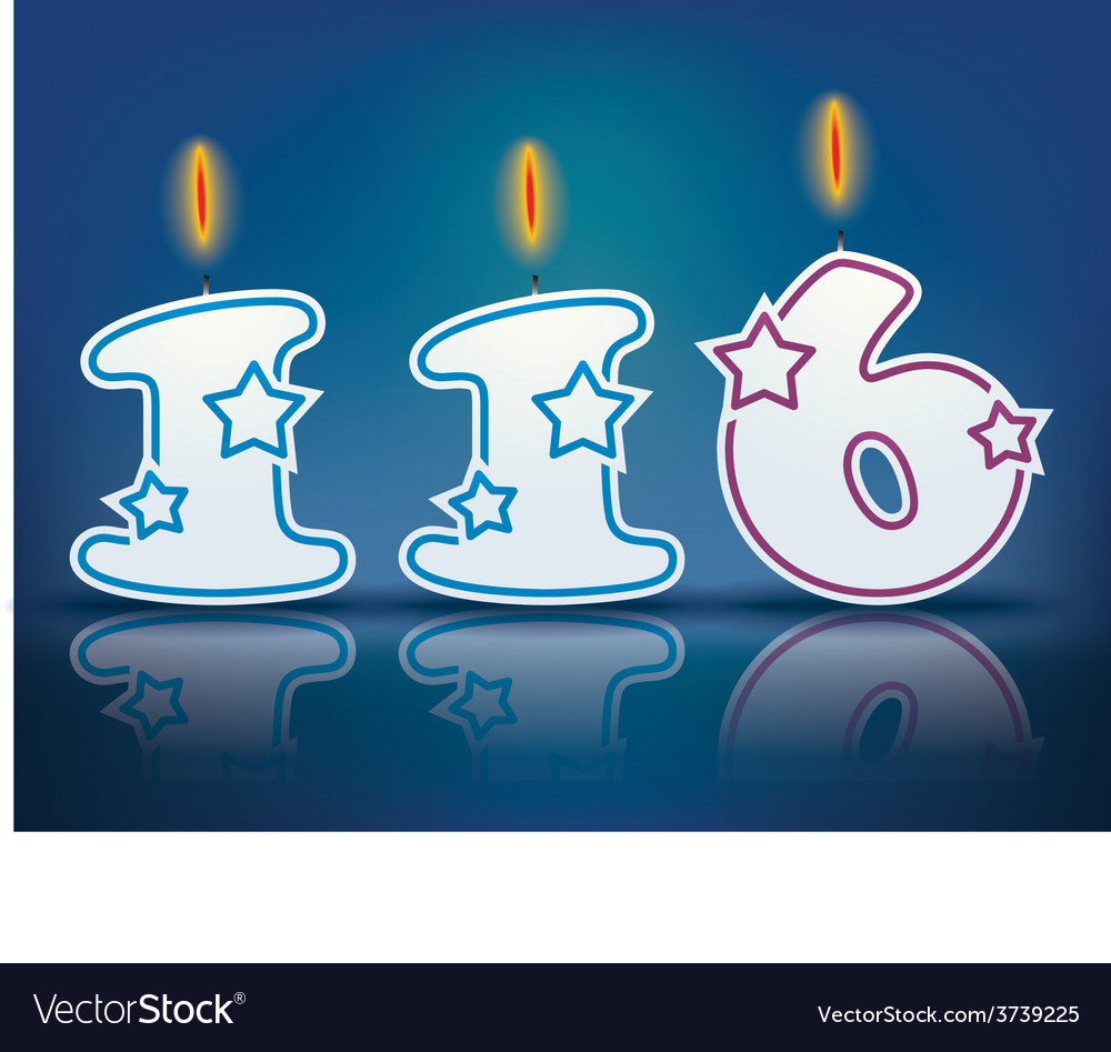 Birthday candle number 116 vector | Price: 1 Credit (USD $1)