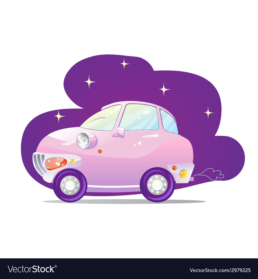 Cute car with the headlights in a cartoon style vector | Price: 1 Credit (USD $1)
