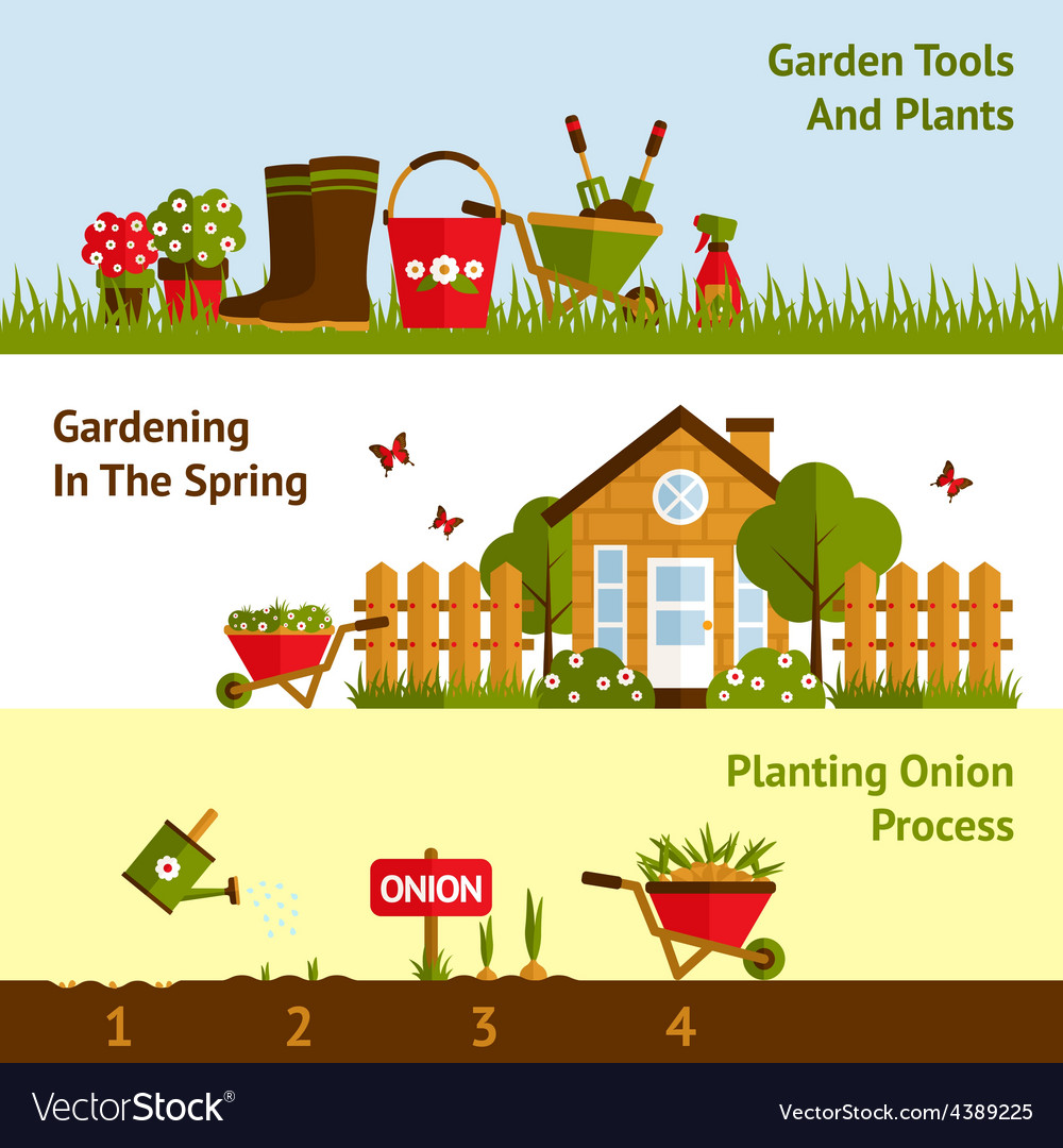Gardening banners set vector | Price: 1 Credit (USD $1)