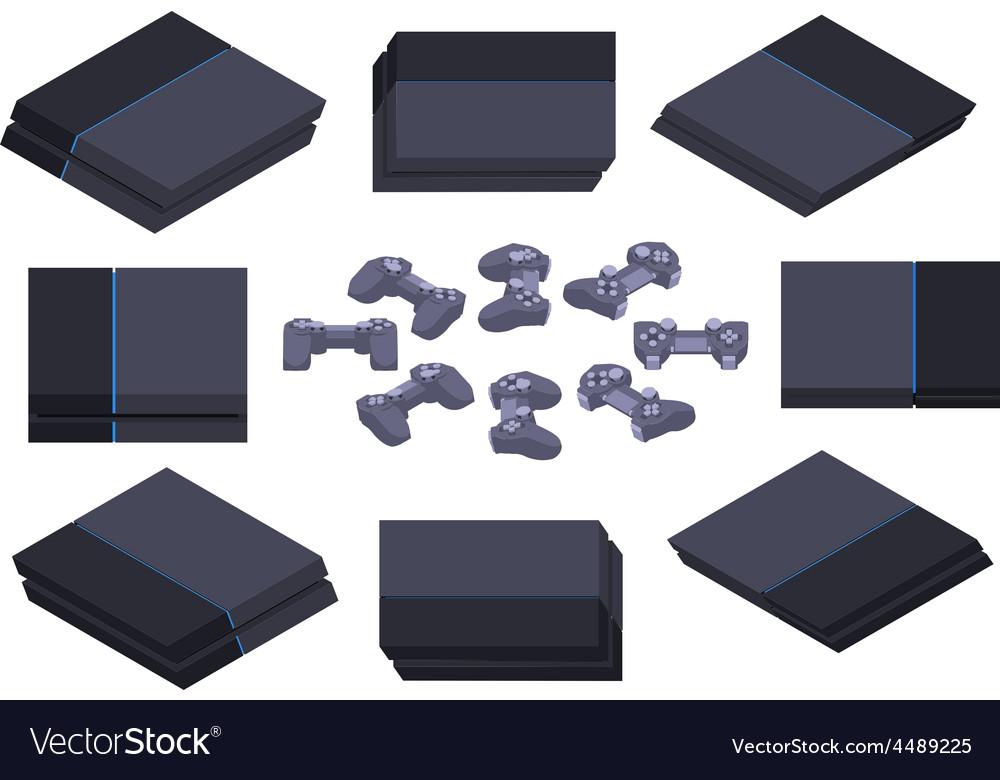 Isometric black nextgen gaming console vector | Price: 1 Credit (USD $1)