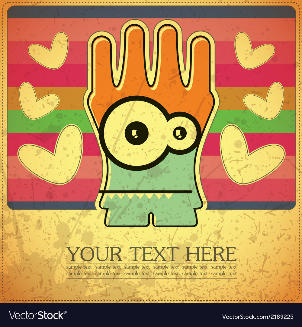 Monster on grunge background vector | Price: 1 Credit (USD $1)
