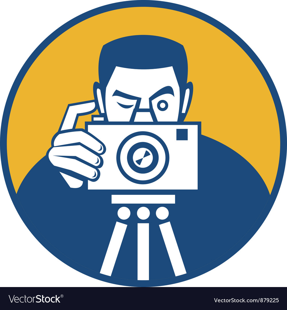 Photographer with camera retro vector | Price: 1 Credit (USD $1)