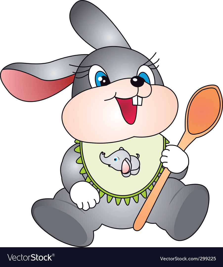 Rabbit with spoon vector | Price: 1 Credit (USD $1)