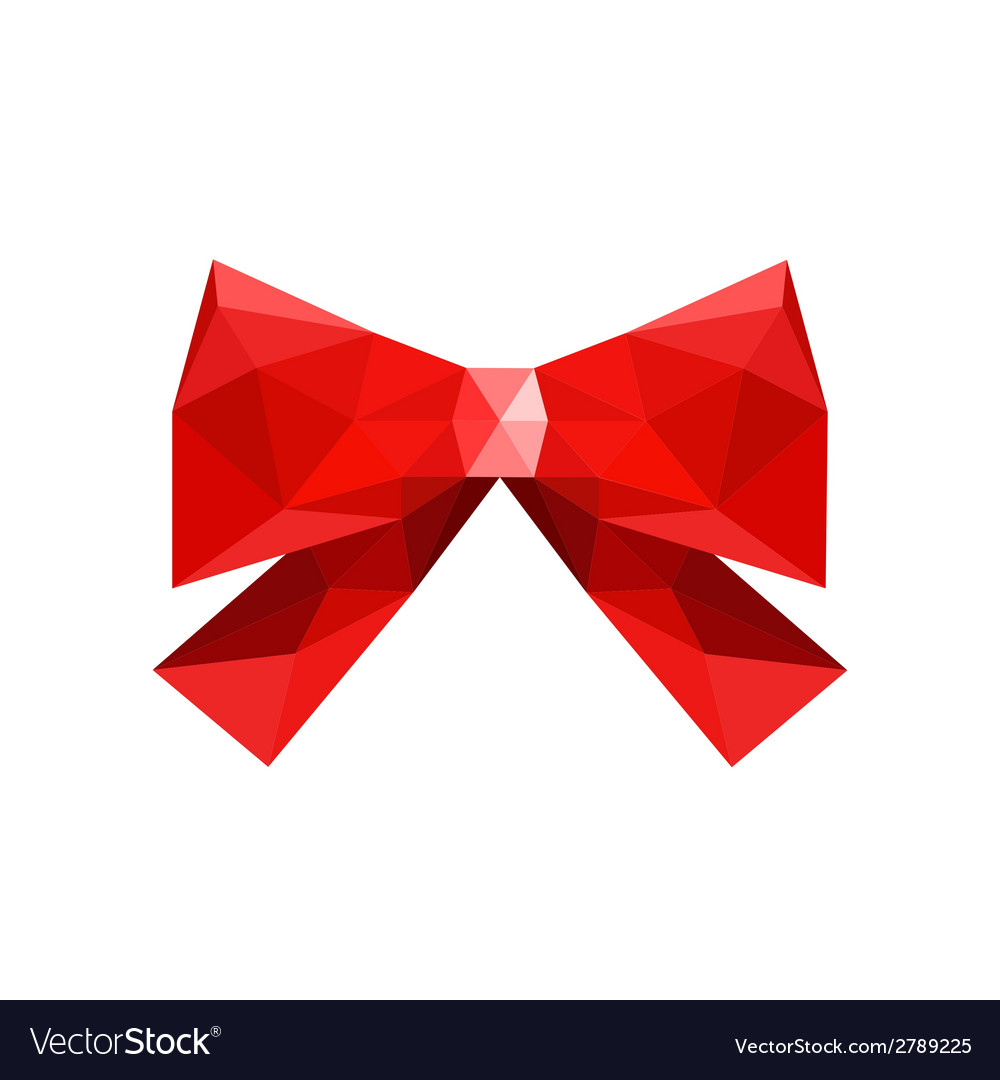 Red origami bow isolated on white background vector | Price: 1 Credit (USD $1)