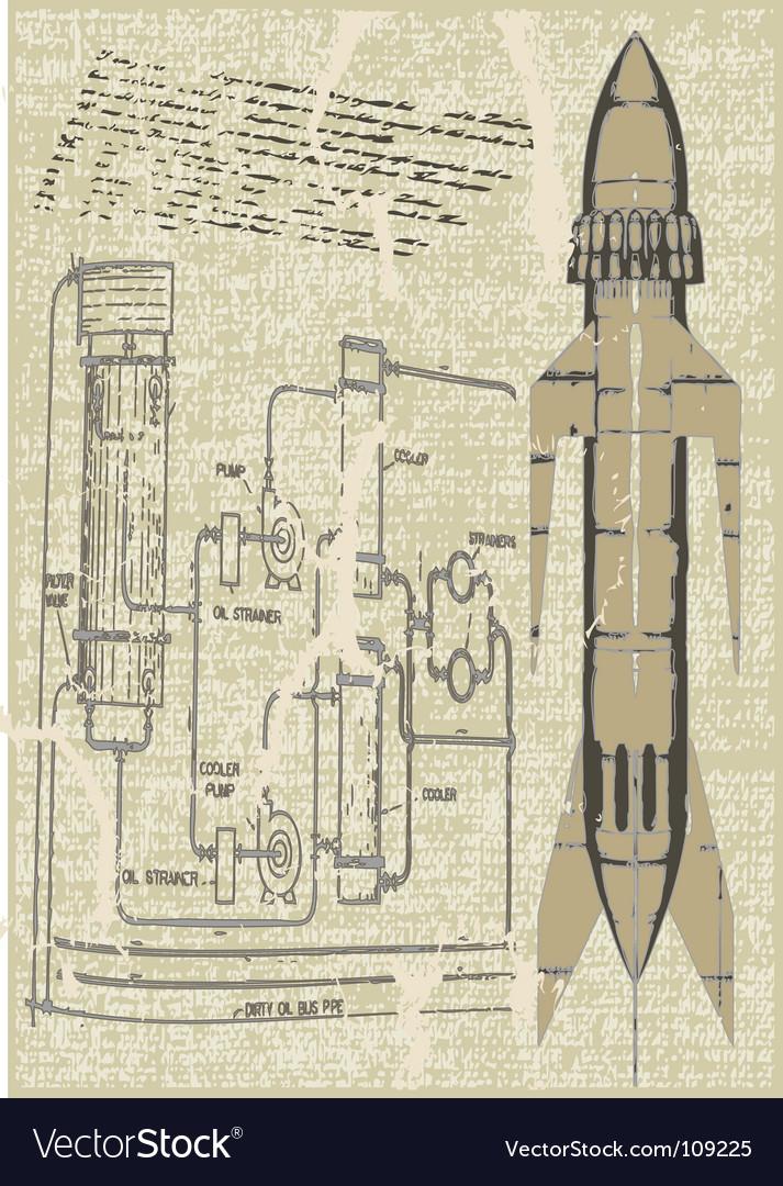 Rocket plans vector | Price: 1 Credit (USD $1)