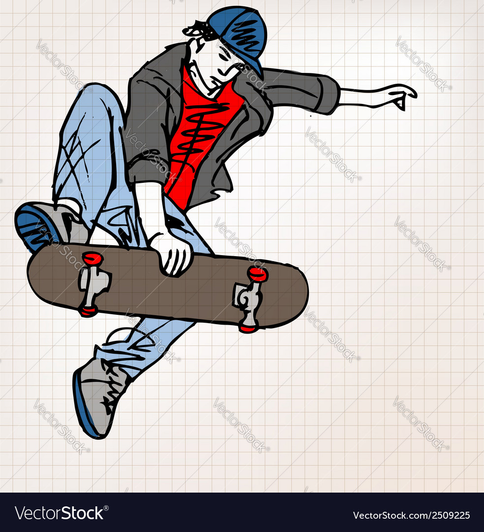 Skater sketch vector | Price: 1 Credit (USD $1)