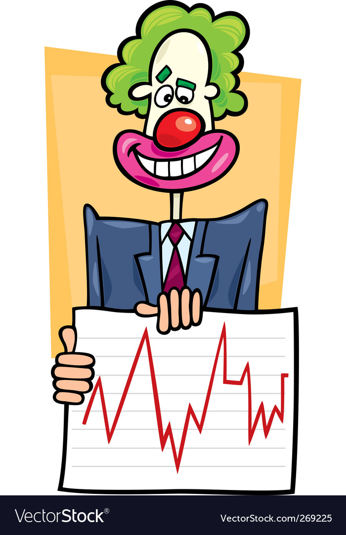 Stock analyst clown vector | Price: 1 Credit (USD $1)