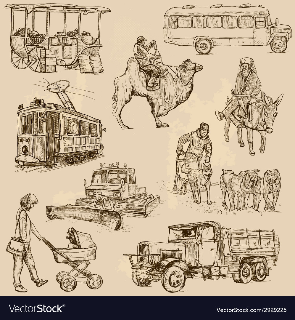 Transportation - an han drawn pack vector | Price: 1 Credit (USD $1)