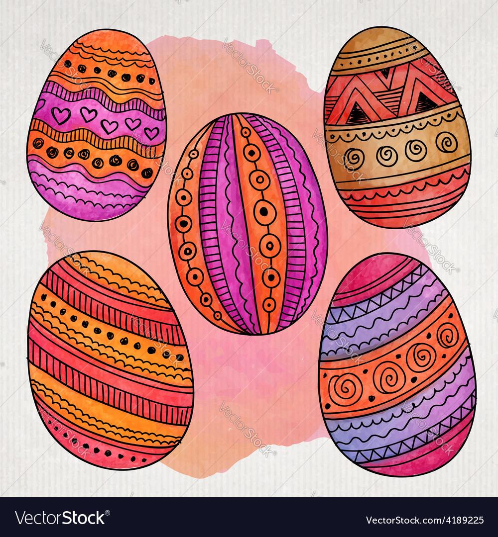 Watercolor ornamental easter eggs set vector