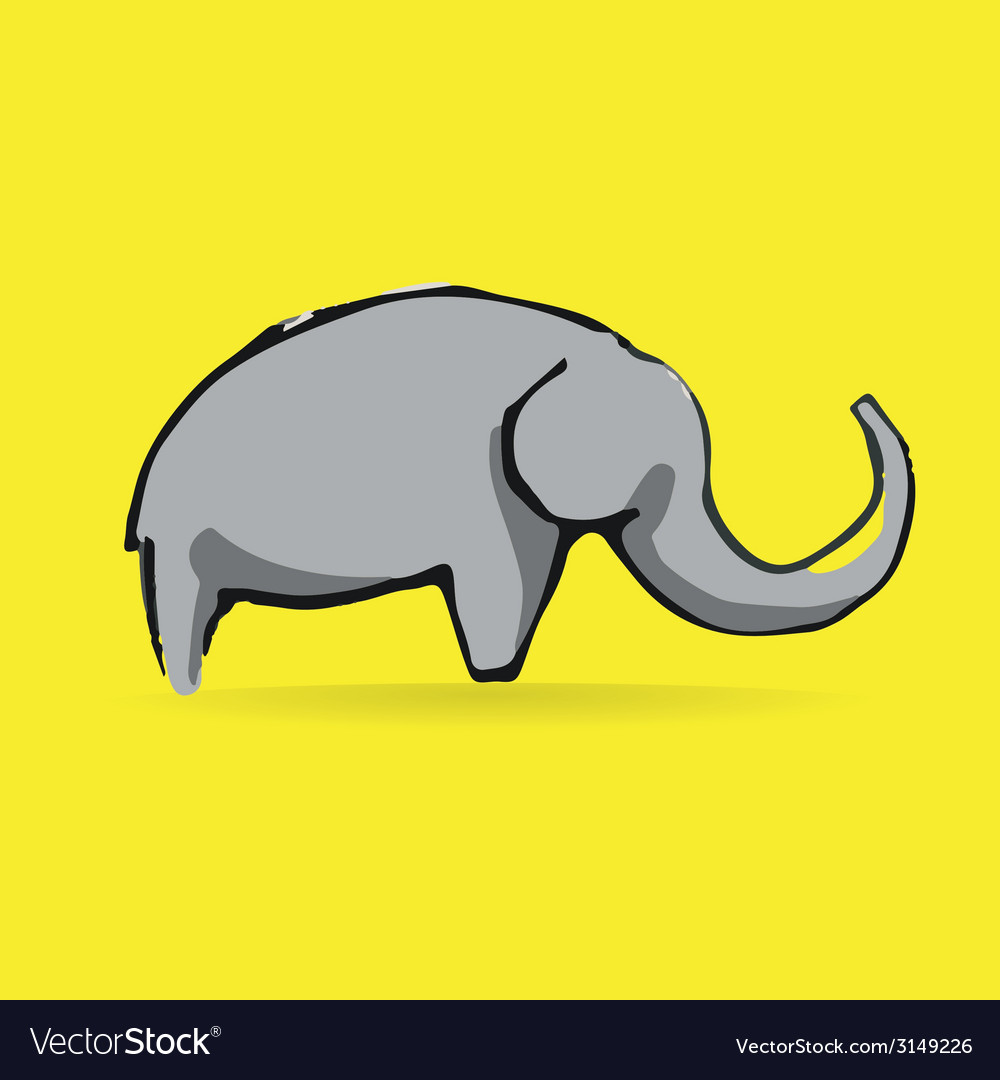 Abstract elephant logotype isolated on yellow vector | Price: 1 Credit (USD $1)